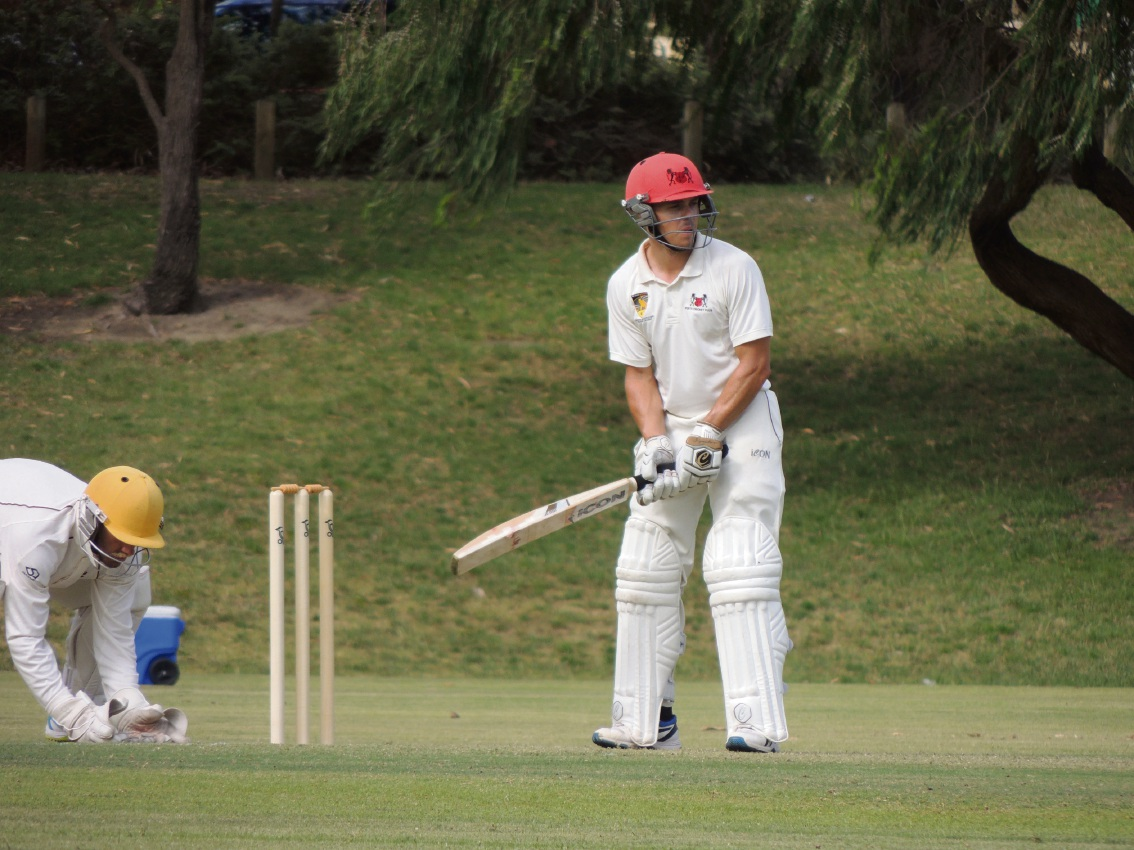 Perth batsman John Nicholas ready to face a ball.