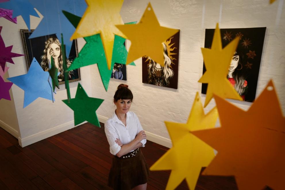 Pippa McManus at her latest exhibition. Picture: Andrew Ritchie www.communitypix.com.au   d476136