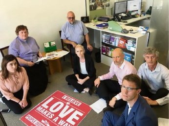 Church leaders hold peaceful sit in at Christian Porter's office in support of Manus Island asylum seekers