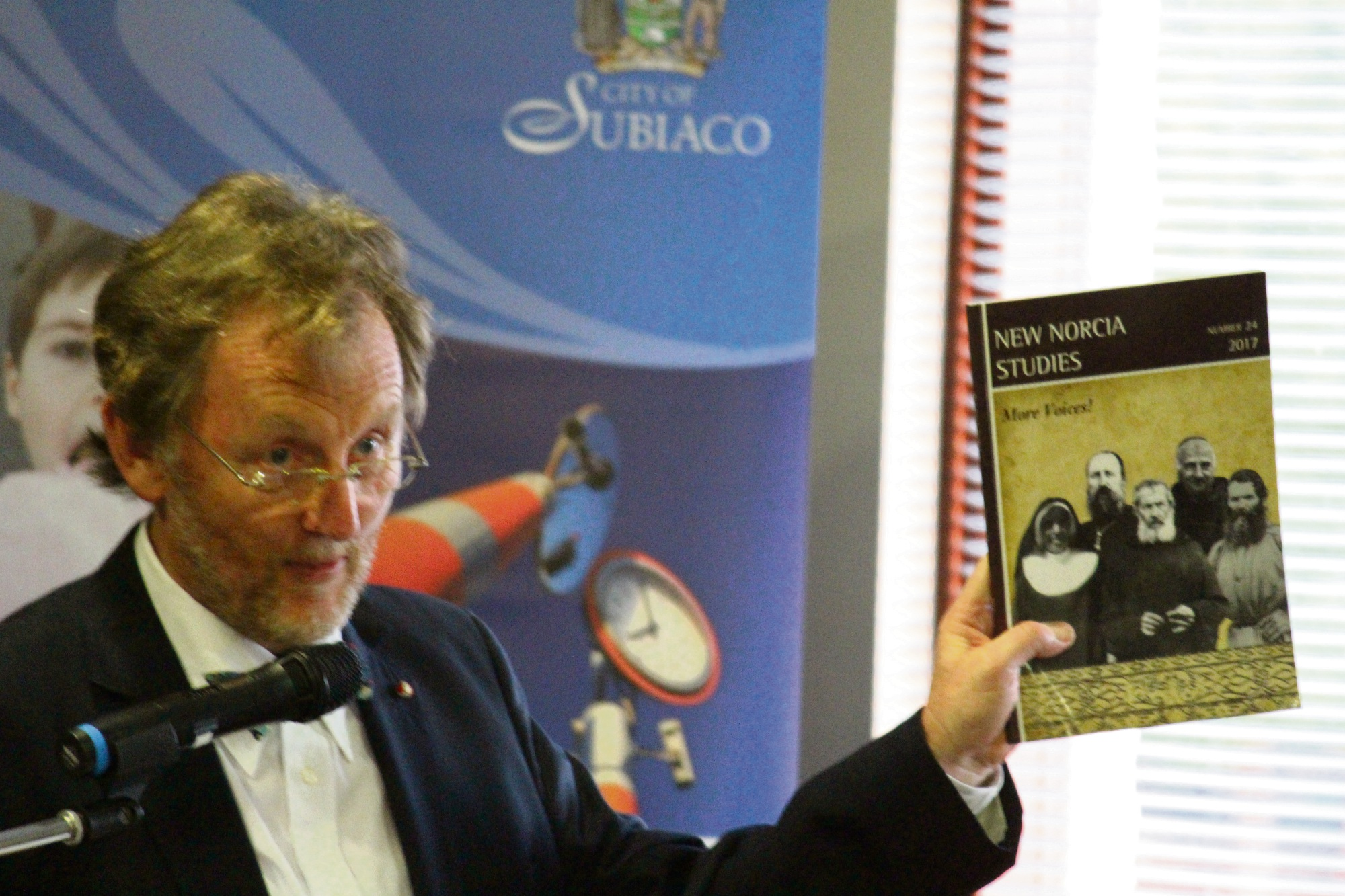 John Kinder launches the latest New Norcia Studies journal at the City of Subiaco's Palms Community Centre.
