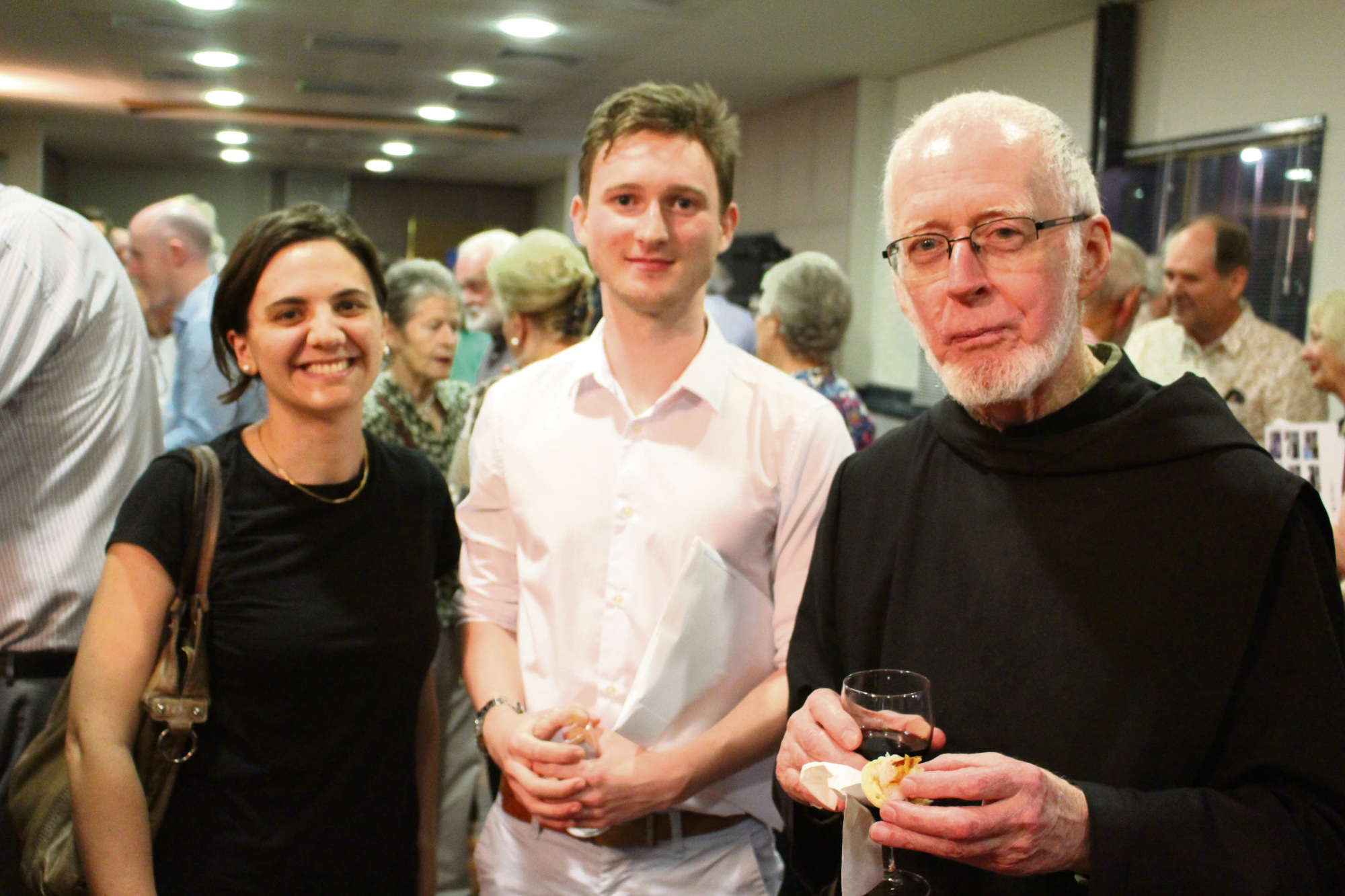 Federica Verdina, Lawrence Rhoads and New Norcia's Fr David Barry.