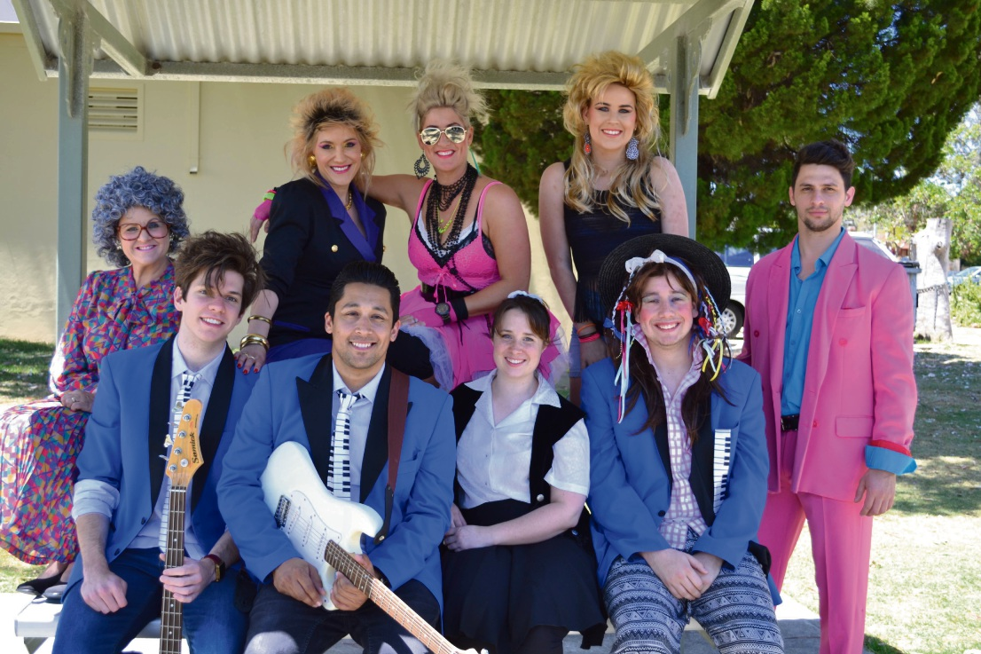 The Wedding Singer features (at back) Helen Carey, Mirella Renel, Dixie Johnstone, Maggie Clark and Daniel Moxham and (at front) Emerson Brophy, Ashby resident Jared Herft, Steph Hickey and Oliver Kaiser. Picture: Gillian Binks