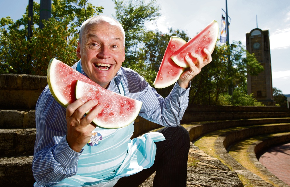 City of Melville Mayor Russell Aubrey enjoying some watermelon. Picture: Marie Nirme www.communitypix.com.au d476199