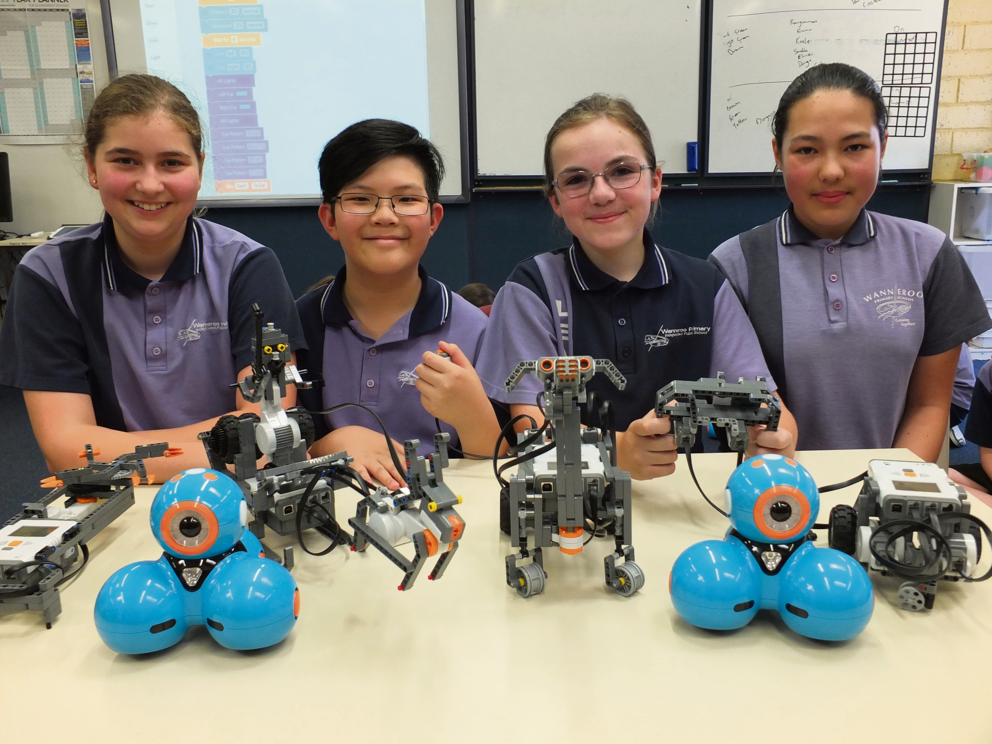 Robotic programmers: Melissa, Joel, Kayleigh and Stephanie will show their robotic creations at the Wanneroo Show.