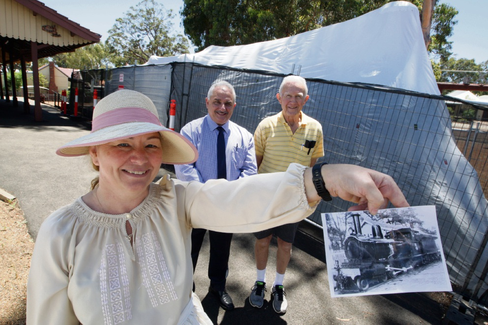 Museum administrator Alison Mulcahy, Mayor John Giardina and Kalamunda Historical Society vice president Tony Crowder. Picture: Bruce Hunt.