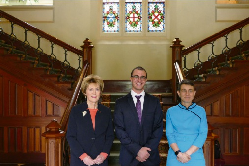 2018 Rhodes Scholar for WA Robert Ferritto with WA Governor Kerry Sanderson and Rhodes Australia national secretary Marnie Hughes-Warrington.