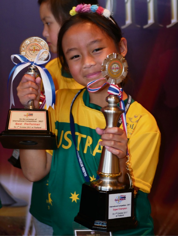 Gracean Alago (8) at the Global Association for Japanese Soroban and Mental Arithmetic (GAJSMA) examination in Bangkok.