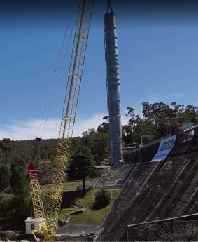 $14m Mundaring Weir upgrade reaches milestone with 42 tonne steel pipe put into dam's intake tower