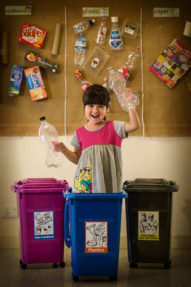 Aila Fitzgerald (4) getting into the spirit of National Recycling Week.