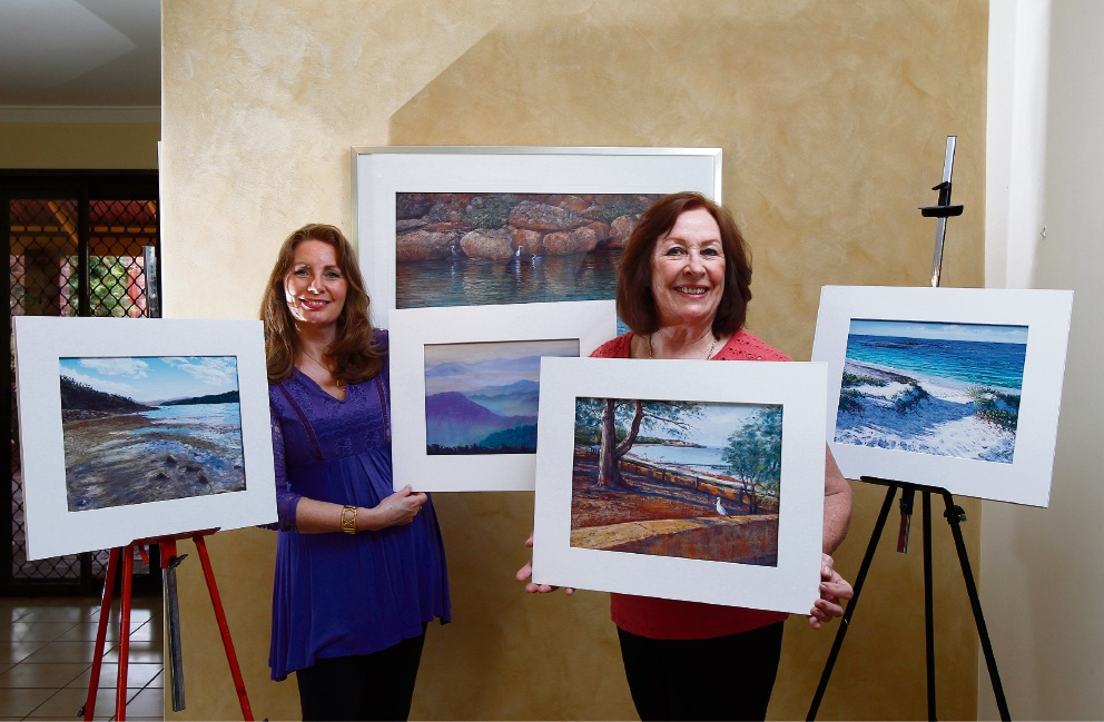 Artists and members of Pastel Society of WA (L-R) Winsome Myers with her piece