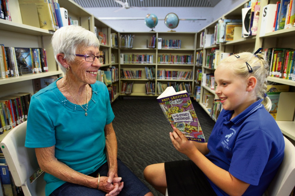 Carmel Wasley and granddaughter Charlotte Nelson, now an avid reader. Picture: Bruce Hunt www.communitypix.com.au   d476024