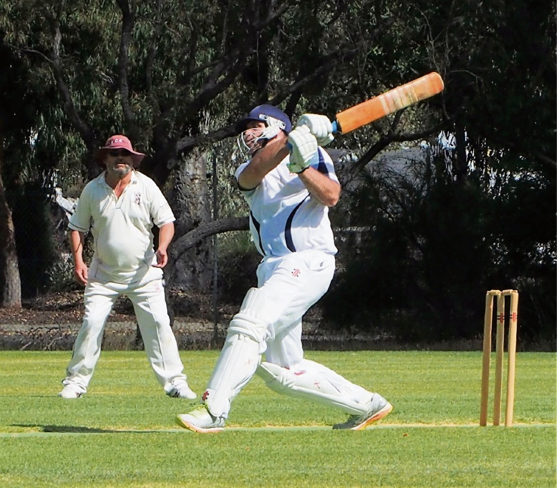 SJ Blues skipper Dave Babich belts another boundary in their 1C win over Kwinana.
