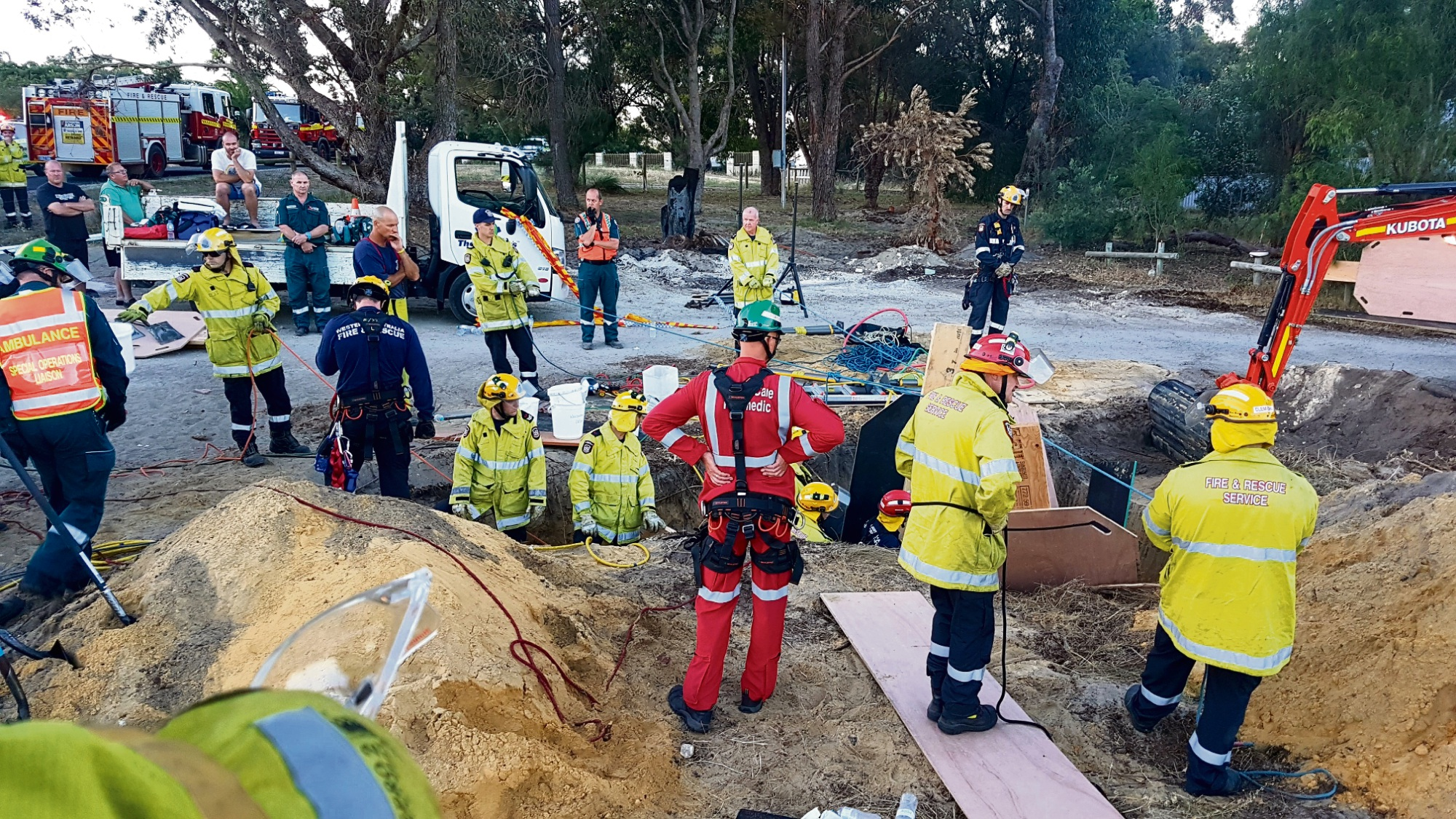 The scene during Sunday's nearly five-hour rescue.