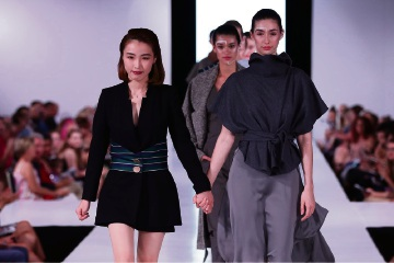 Balcatta designer Rina Chen at the fashion show with Viviens models. Picture: John Koh