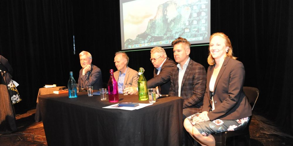 Westport taskforce chair Nicole Lockwood, Fremantle Mayor Brad Pettitt, investment adviser Cameron Edwards, Murdoch University's Phil Jennings and Curtin University's Peter Newman spoke at the meeting. Picture Jon Bassett