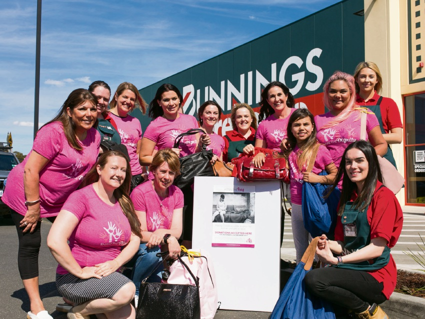 Bunnings staff with Share the Dignity volunteers.