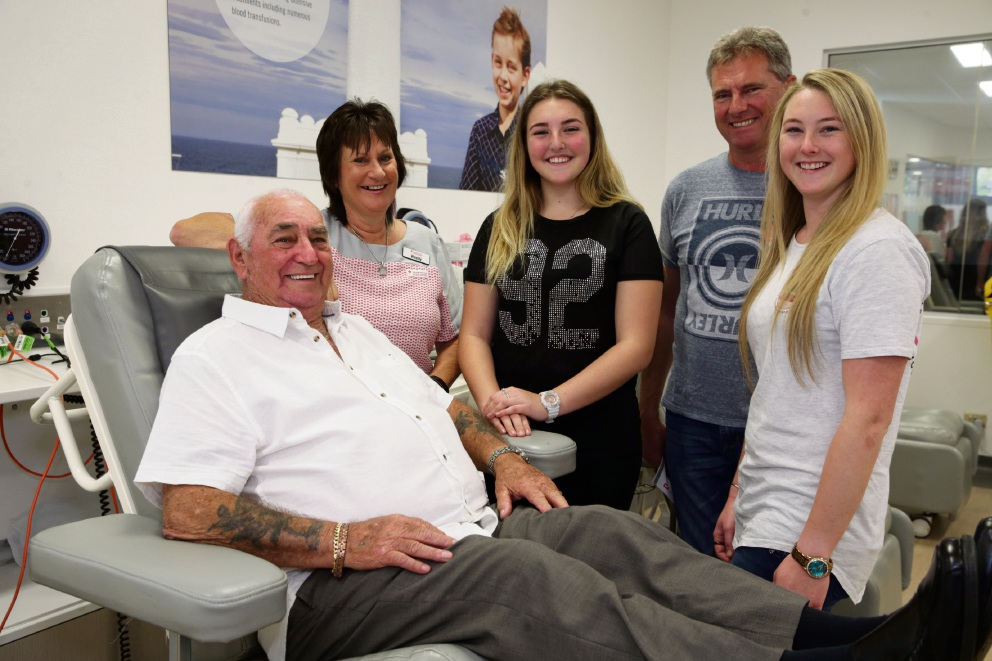 Allan Upston (Ballajura) with enrolled nurse Wendy Ryder, his son-in-law Kevin Banks (Gnangara) and granddaughters Shanae and Sarah Banks (Gnangara). Picture: Martin Kennealey d475322