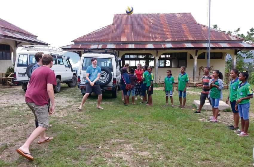 Students introduce Timorese students to Aussie rules. Picture: Supplied