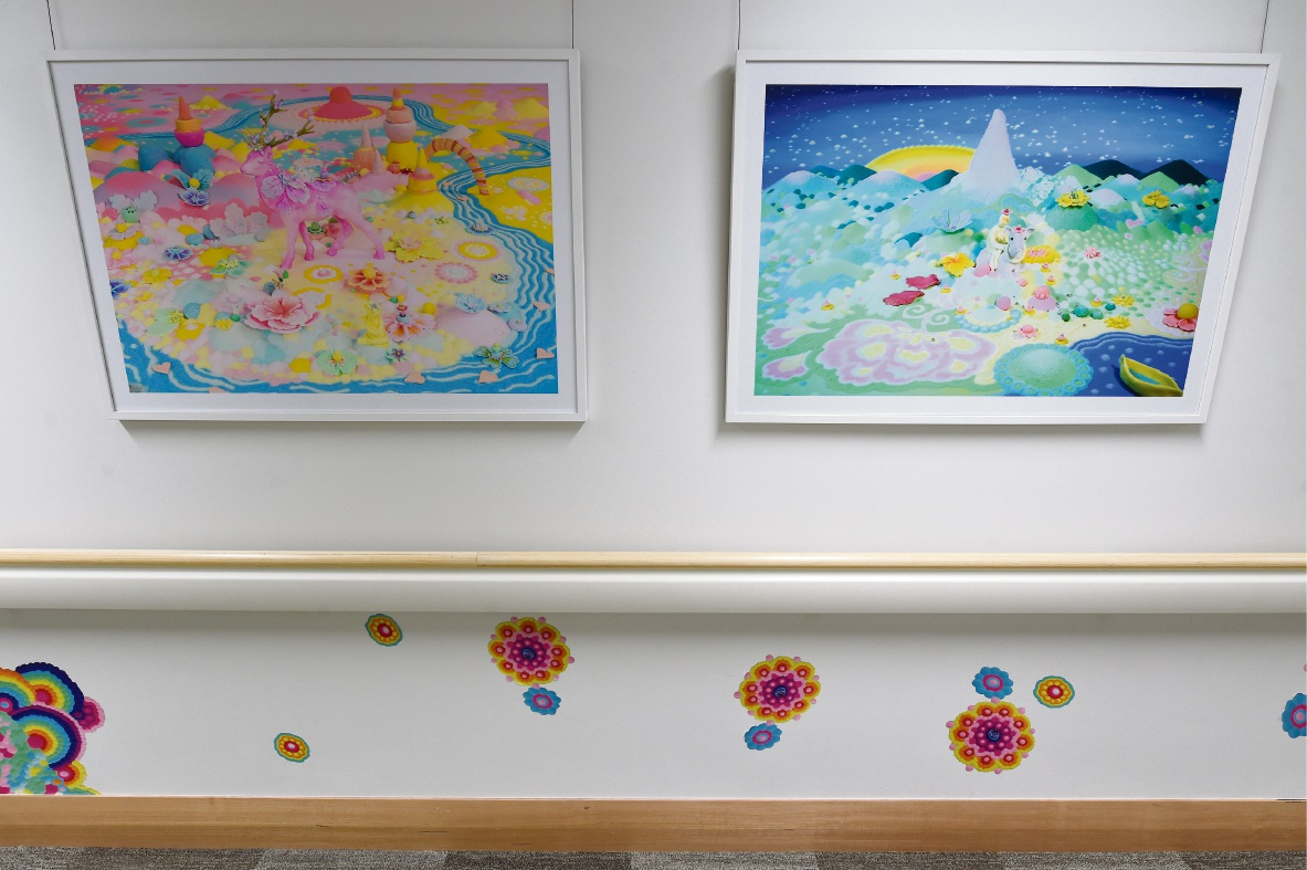 Shots of the new ward and artwork, much of which was donated.