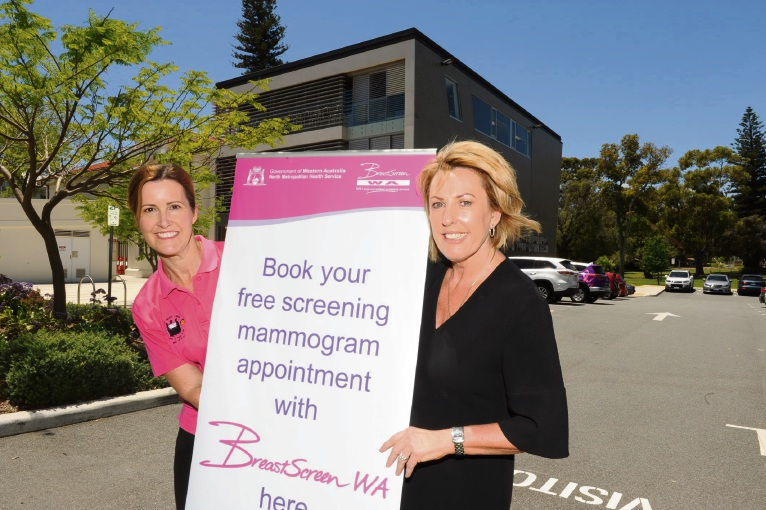 BreastScreen WA program officer Coby Pearson and Claremont Council staff Anne Arrigoni want women to sign up for free breast screening coming to Claremont and Cottesloe. Picture: Jon Bassett