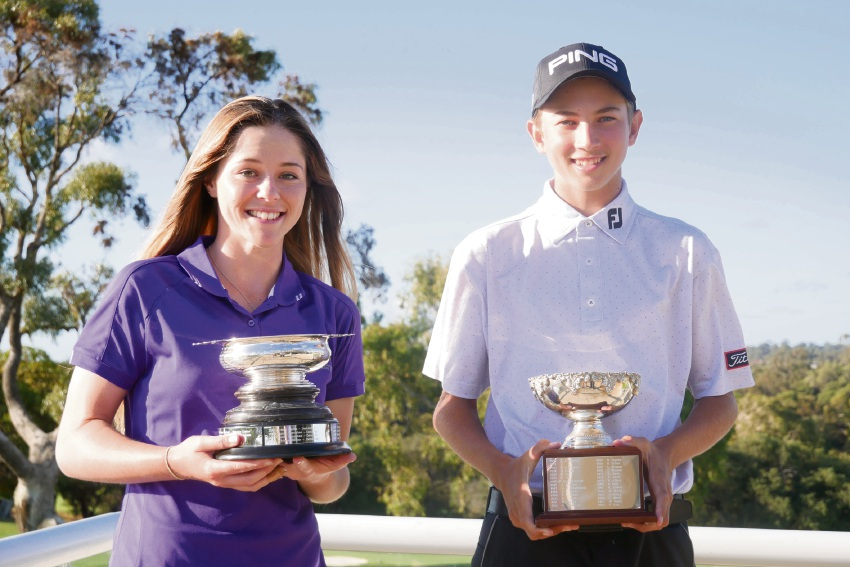 Mandurah junior golfer Kathryn Norris and Josh Greer from Joondalup won at the Drummond Golf Junior Championship of WA at Cottesloe Golf Club last Sunday.
