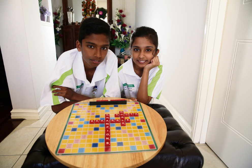 Sharvin (15) and Shireeya (10) Jeyendran (Butler). Picture: Martin Kennealey d476651