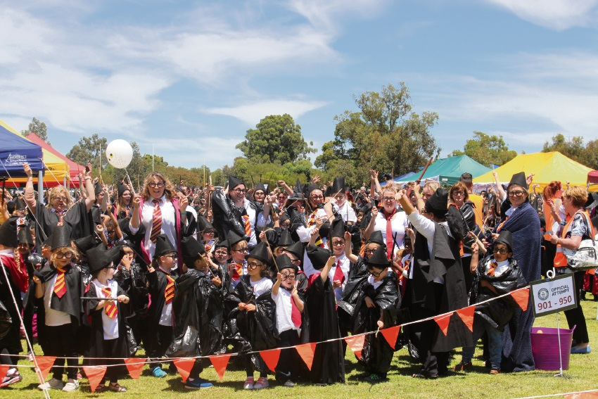 West Byford Primary School staff and students setting their Guinness World Record for the most people dressed as Harry Potter in a single location.
