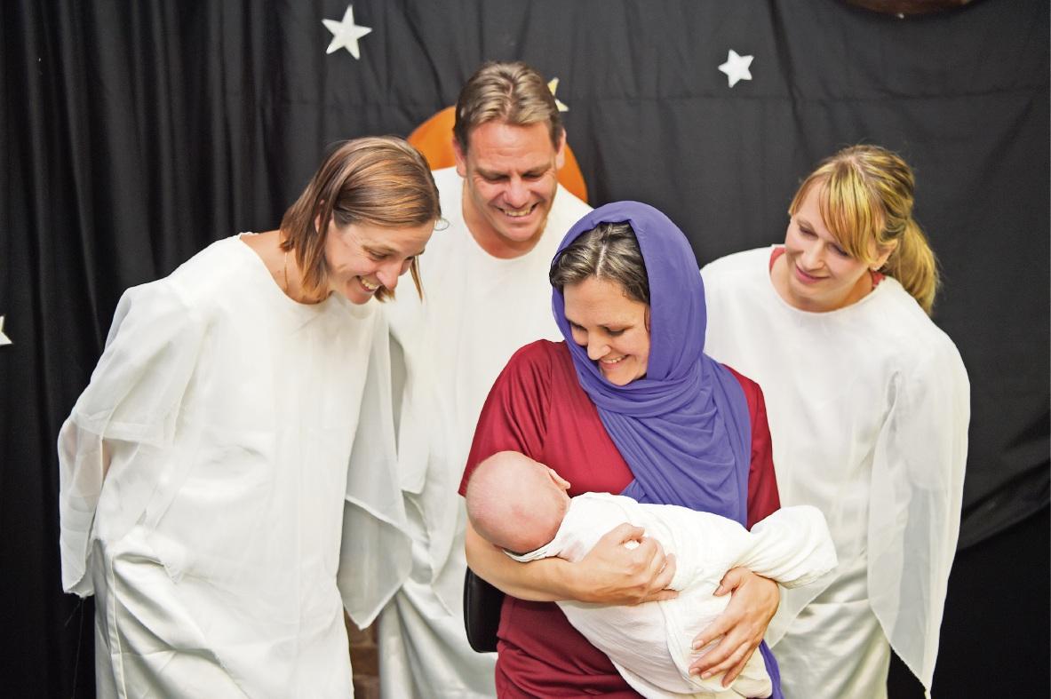 Rochelle Johansson, Pastor Andrew Olsen, Dianne Thornley, and Nikki Ashmore (centre).