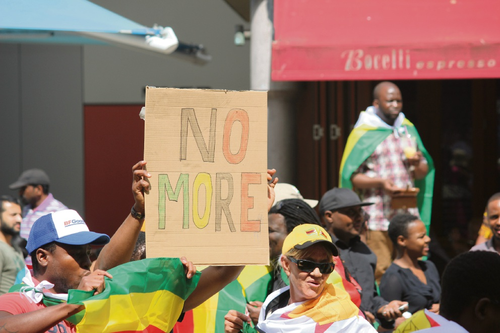 Zimbabwe-born people at a solidarity march in Perth last weekend. Picture: Jarvis Eyes