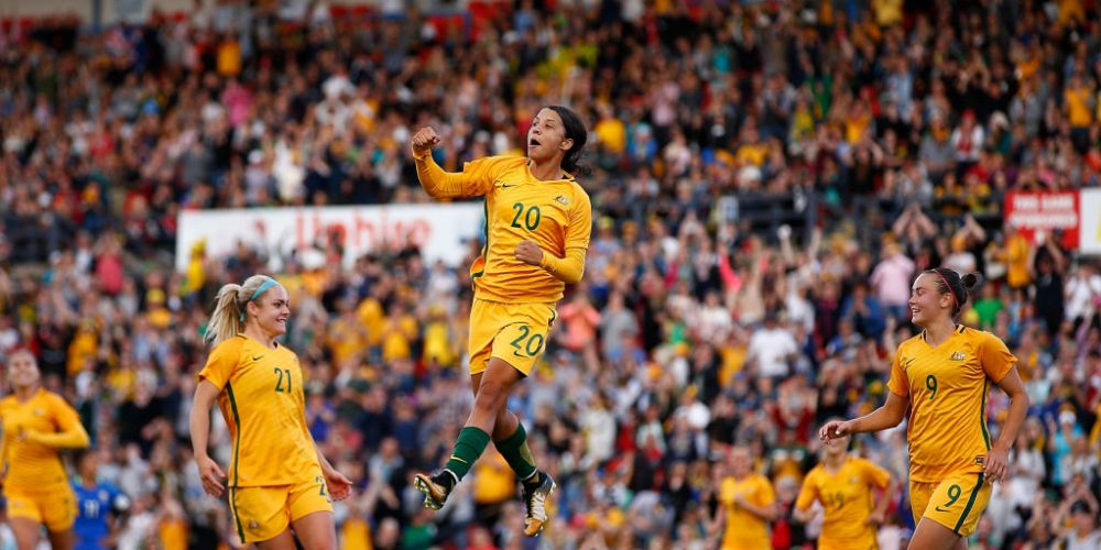 Sam Kerr and the Matildas. Picture: Getty Images