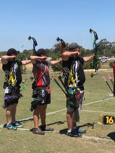 Benara Bowmen archers Danie-Louis and Danie Oosthuizen, right, at the national championships.