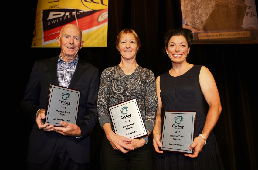 Masters cyclist of the year award winners Richard Barville, Anna Davis and Laurelea Moss. Picure: Cycling Australia