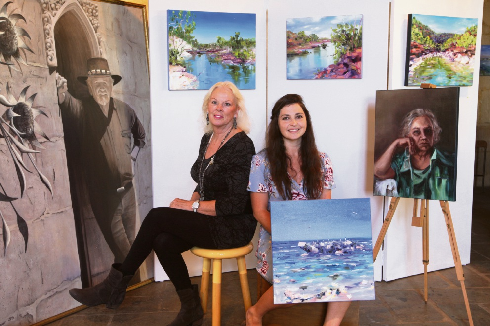 Artists Trish Juniper and Joanna Meredith in the home of the late Robert Juniper. Picture: Bruce Hunt d476555