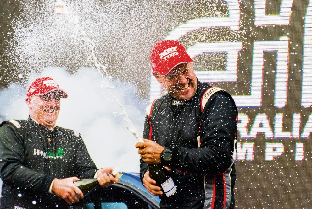 John O'Dowd and Ken Sheil celebrate after Rally Australia. Pictures: Wishart Media