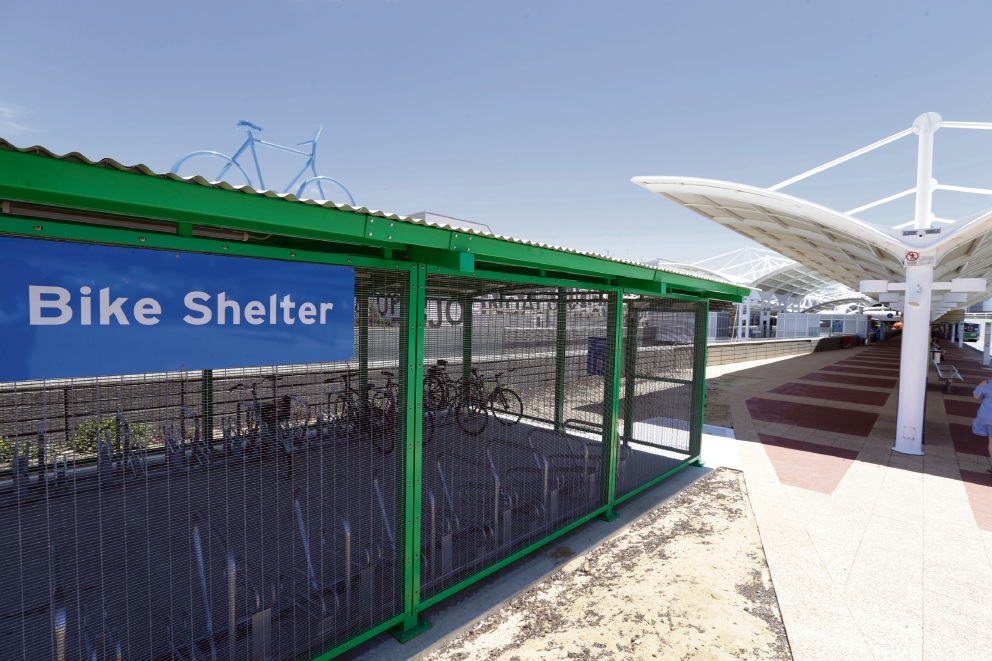 The new bike shelter at Joondalup Train Station. Picture: Martin Kennealey d476736