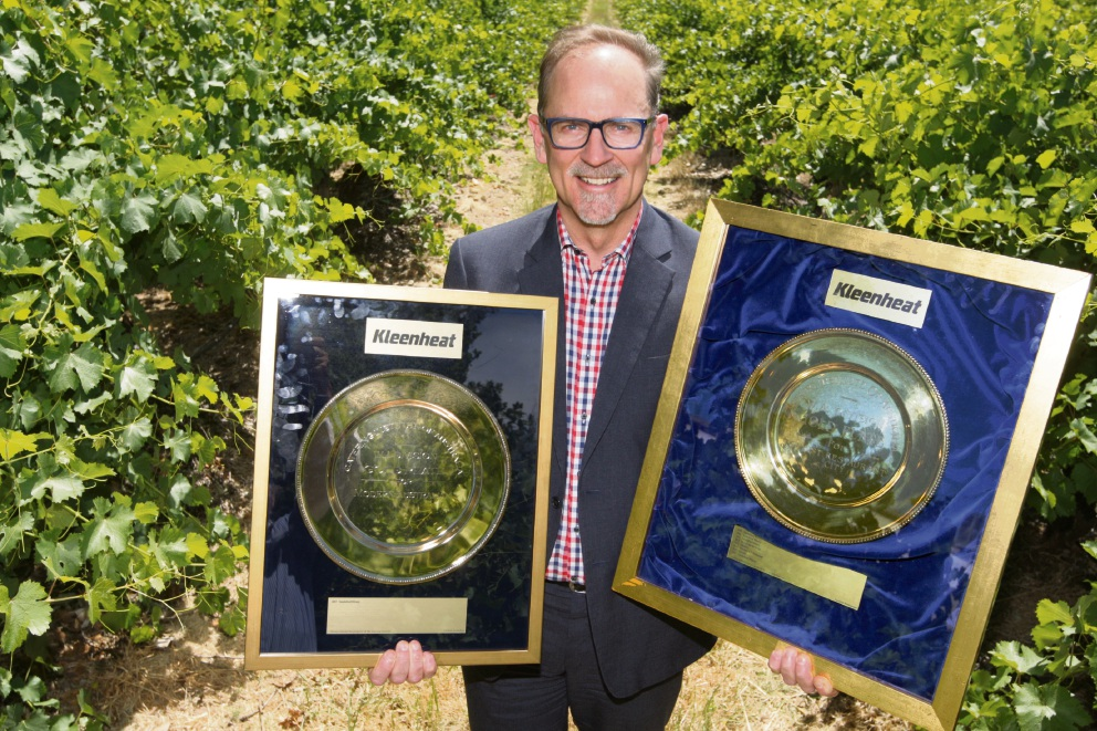 Sandalford Wines chief executive Grant Brinklow with the winery's Gold Plate Awards. Picture: Bruce Hunt www.communitypix.com.au d476741