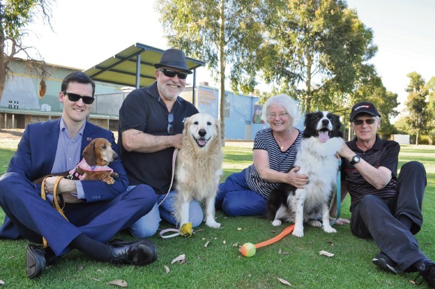 Melville Deputy Mayor Matt Woodall with Sage, Rob Taddeo with Sandie, and Jilie and Richard Rule with Rusty at Peter Ellis Reserve in Leeming.
