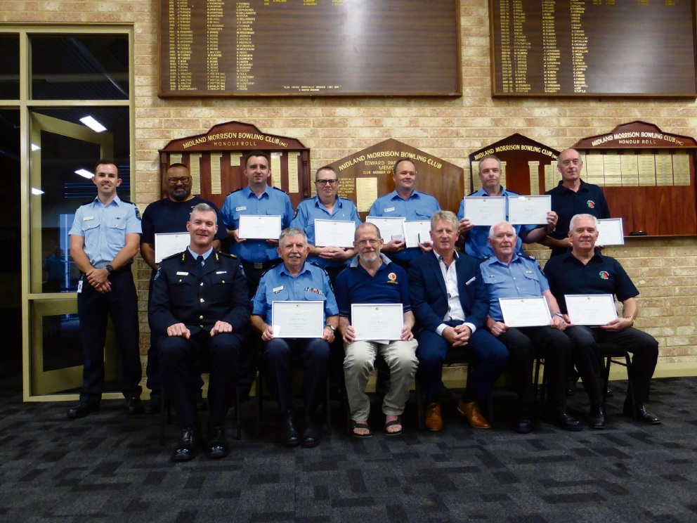 Volunteer firefighters were awarded for their dedication and service.