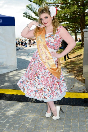 Miss Pinup International runner-up Larissa Camilleri wearing her Cherri Lane dress at the finals. Picture: Phil Ingram