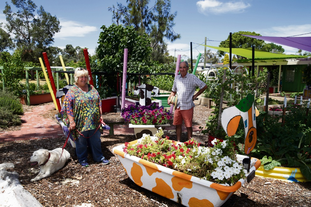 Donelle Wilson (garden co-ordinator) and gardener Peter Winner (Hamersley). Picture: Martin Kennealey