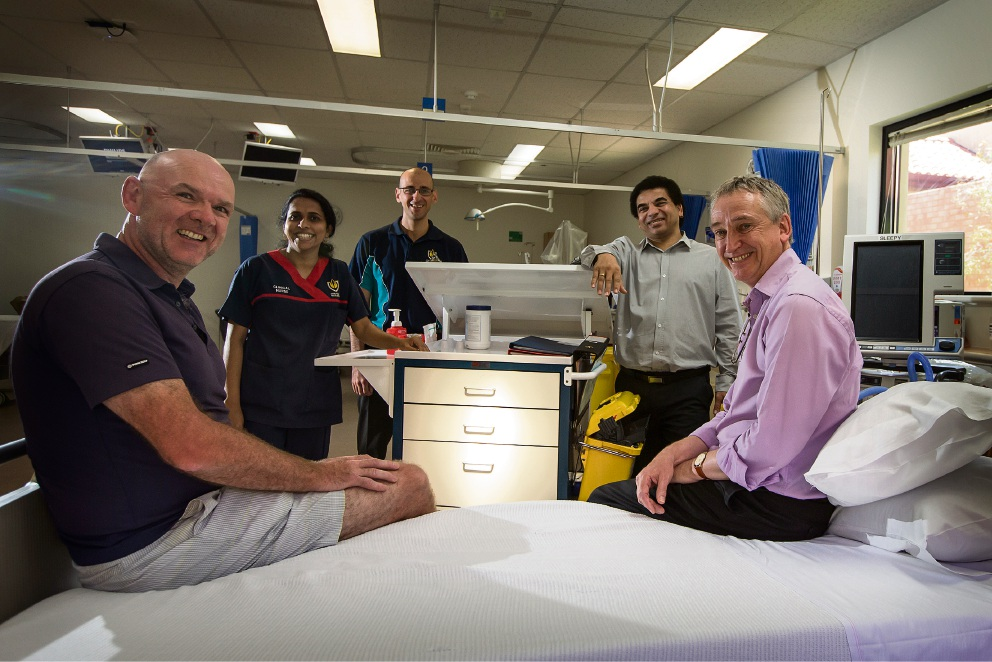 Pictured Dr Kieran Lennon (Consultant ICU), Nisha George (Clinical Nurse), Mark Palermo (Senior Physio), Denver Prince (Nurse Manager), Dr Dave Blythe (Head Dept ICU) Picture: Will Russell www.communitypix.com.au d476218