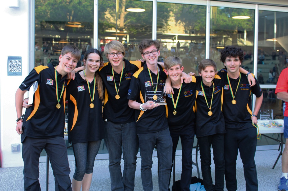 Heart College's winning science technology team: Jack Ducie, Lily Boss-Bailey, Declan Williams, Josh Wilson, Samson Wheeler, Olek Tindall and Jack Bailey.