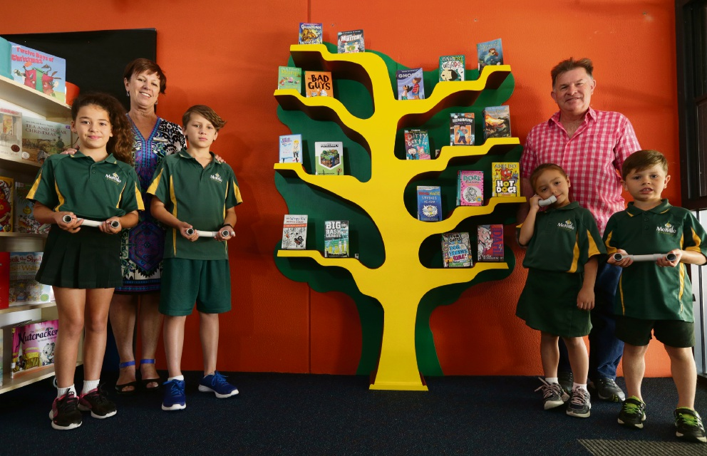 Principal Betty McNeill and Fremantle Men's Shed's Les Brooker and students Lilla Salerno (Year 4), Jack Rivers (Year 4), Meaghan Fogarty (pre-primary) and Dane Farrell (pre-primary).