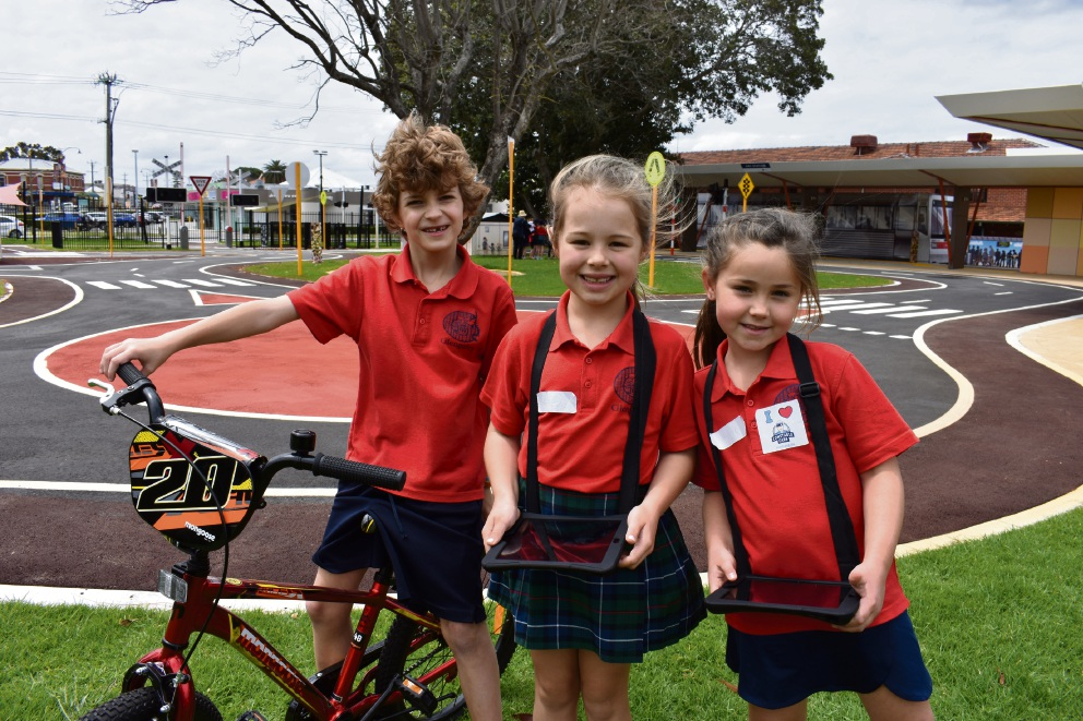 Glengarry Primary School students Max, Gabby and Imogen (surnames withheld) at the Constable Care Safety School.