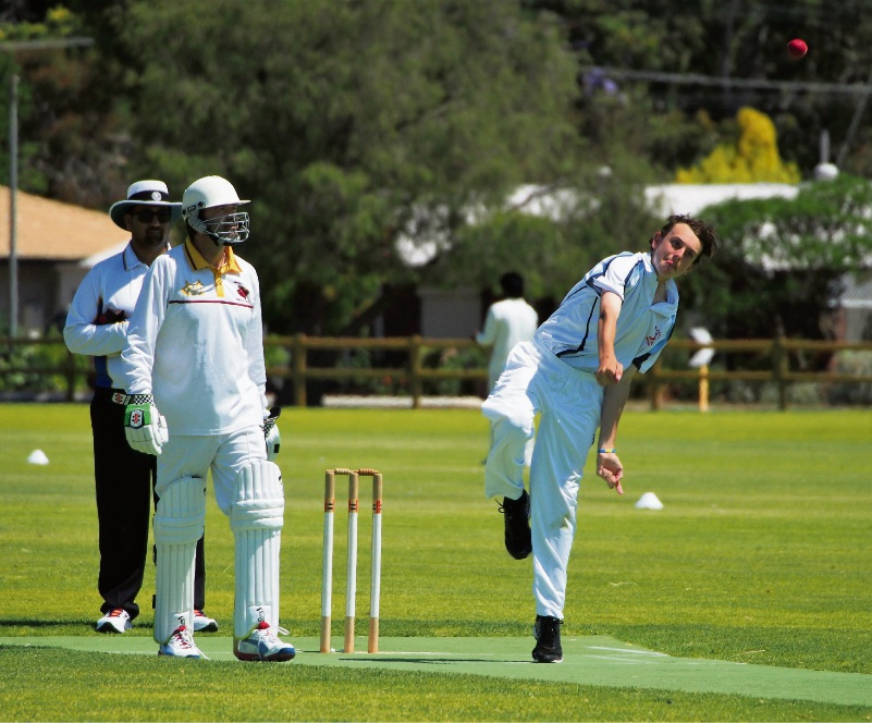 Fifteen-year-old spin bowler Brodie Gordon in action for SJ Blues sixth grade side on Saturday.