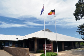 The Australian and Aboriginal flags outside Mundaring council administration building. Picture: Supplied