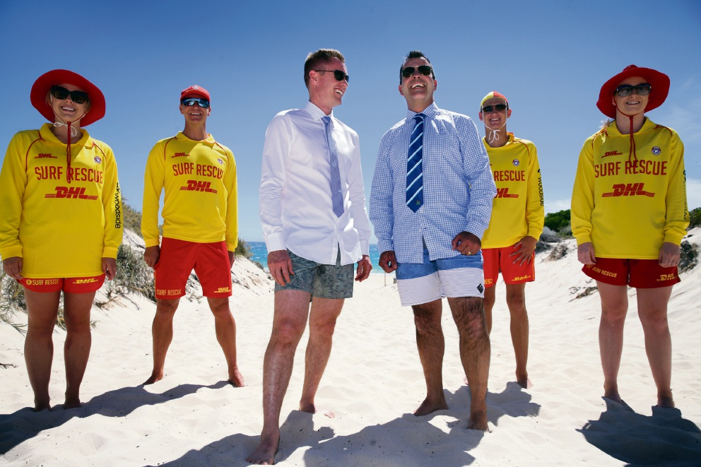 Joondalup Mayor Albert Jacob and Stirling Mayor Mark Irwin with Trigg surf lifesavers Shaun Jessop, Emily Windsor, Jakson Egan and Macarah Mallis.  Picture: Martin Kennealey d476832
