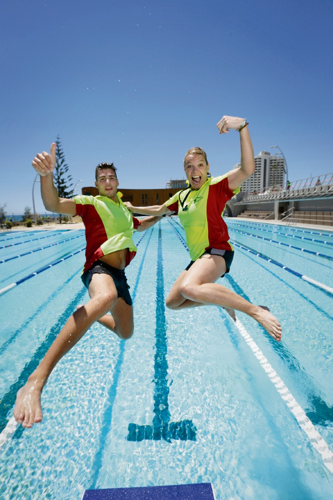 City of Stirling life guards Jordan Pizzata and Dawn Mason testing out the new Scarborough Beach pool. Picture: Andrew Ritchie www.communitypix.com.au d476782