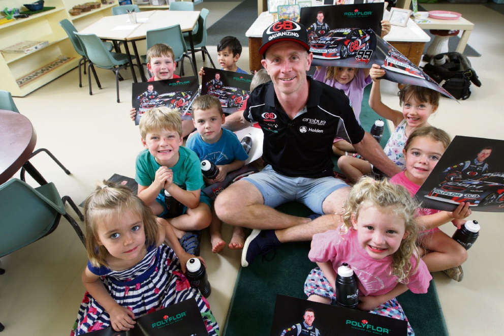 Dale Wood with youngsters from the Spring Road Community Kindy.