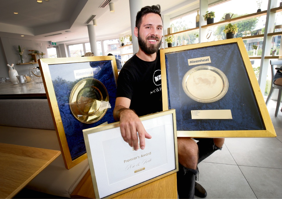 Manager Davide Crisafi with Gold Plate Awards and recognitions at Nic and Kolo in Applecross. Picture: Matt Jelonek